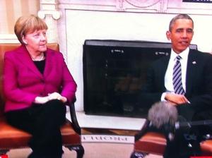 Angela Merkel with Obama at the White House